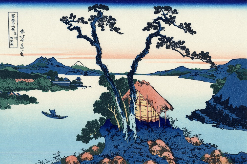 High quality Oil painting Canvas Reproductions Lake Suwa in the Shinano province ukiyo e by Katsushika Hokusai Thirty six Views