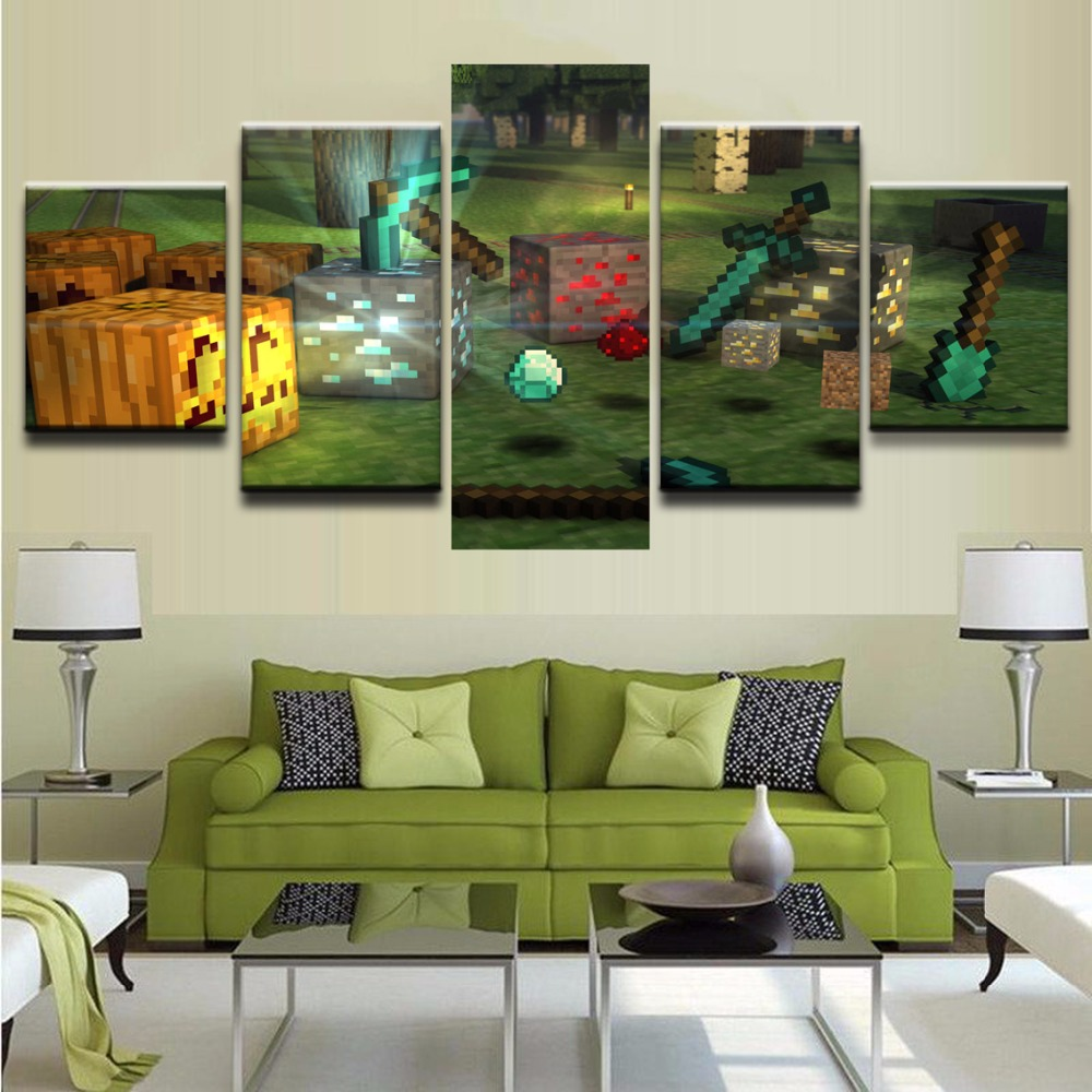 HD Printed Canvas Painting 5 Pieces Minecraft Game Posters Modular Pictures Home Decor Modern Wall Art Decorative Artwork