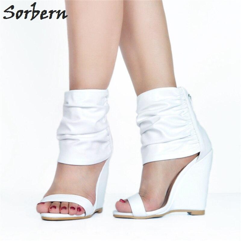 Ete Sandali Custom Sorbern 2018 Femme Color bianco Posteriore Toe Partito Stile Donna Moda Estate Cerniera Pu Tacchi Open Alti Chaussures Di Scarpe pCwICafq