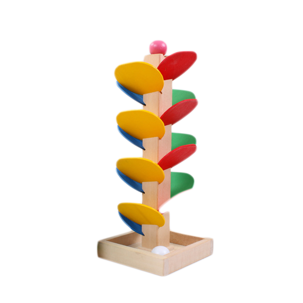 Educational Toy Blocks Wooden Tree Blocks Marble Ball Run Track Game Baby Kids Children Intelligence Educational Toy