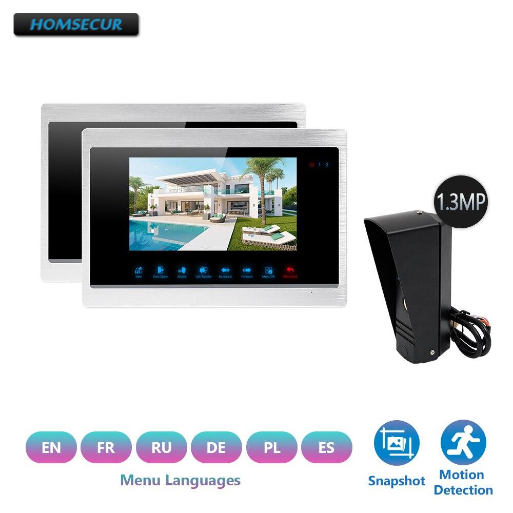 HOMSECUR 7 4 Fil Vidéo Porte Interphone de Sécurité D'entrée avec Double-interphone, caméra imperméable (BC011HD-B + BM702HD-S)