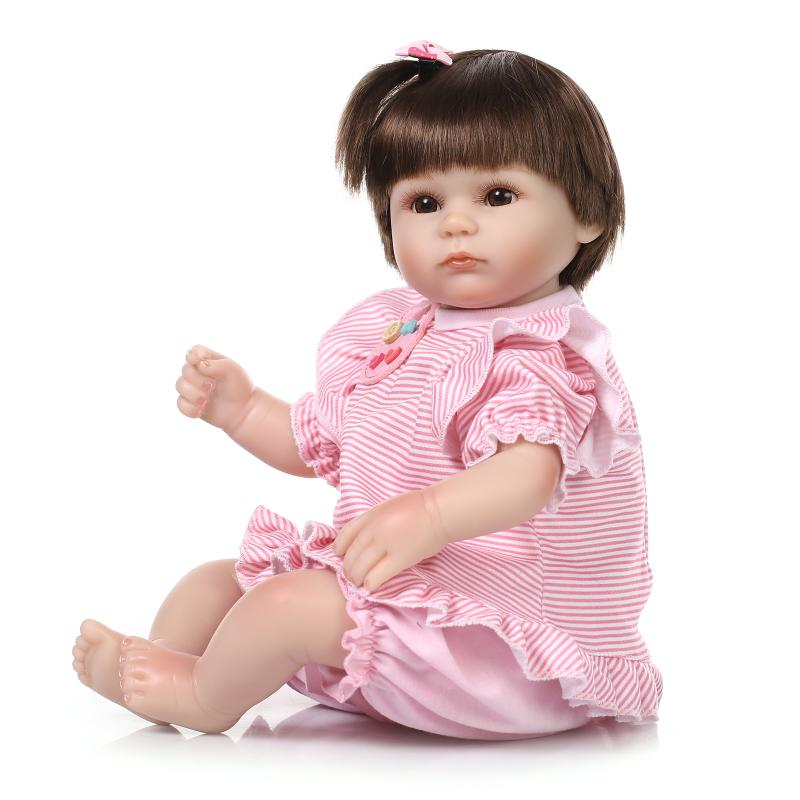 Lovely 42CM silicone reborn baby girl doll/100-reborn-babies bonecas children toys bebe gift brinquedos by NPK Collcetion
