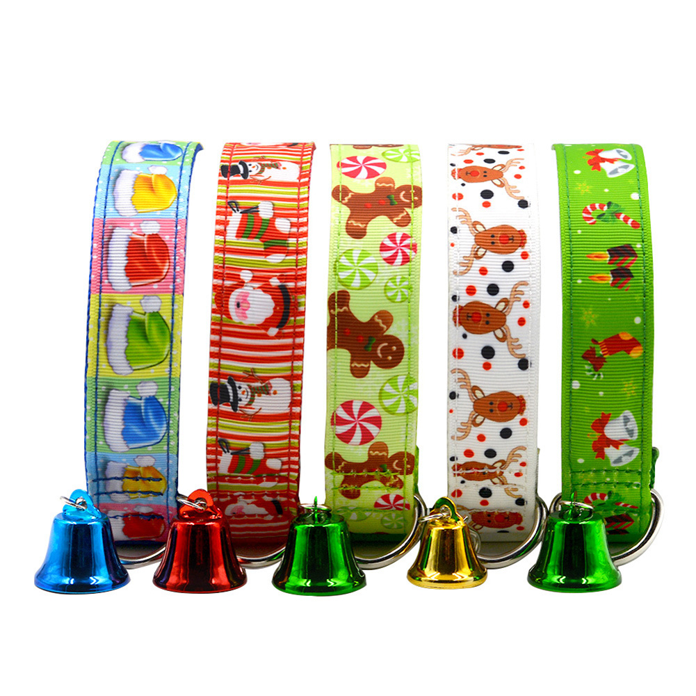 Lovely Christmas Pet Dog Cat Collar Adjustable Xmas Design with Small Bell
