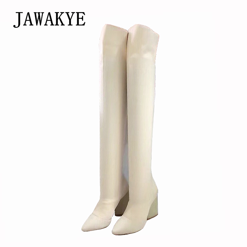 d7f557cb50eb JAWAKYE Autumn Knit Chunky High Heels Stretch Thigh High Boots Women Point  Toe Runway Sandals Long botas femininas Shoes Woman-in Over-the-Knee Boots  from ...
