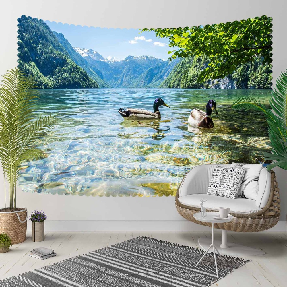 Else Green Trees Floral Blue Lakes On Ducks Floral 3D Print Decorative Hippi Bohemian Wall Hanging Landscape Tapestry Wall Art