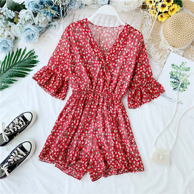 NiceMix Women 39 s Jumpsuit Summer Clothing Seaside Conjoined Chiffon Printing V Collar Horn Sleeve Broad Legs Rompers Womens Jumps in Rompers from Women 39 s Clothing