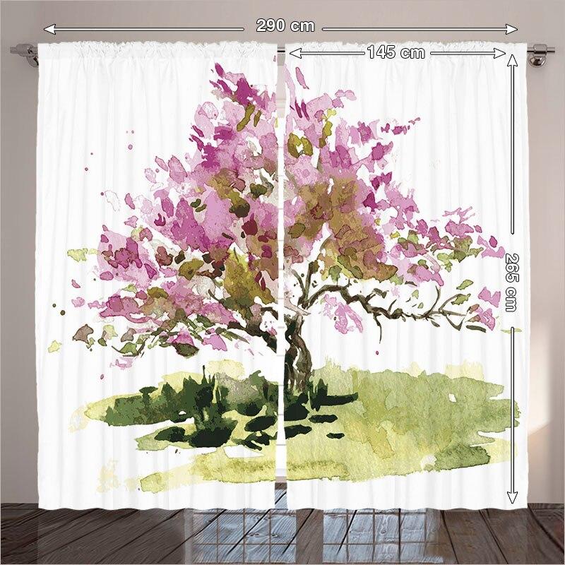 gordijnen wit woonkamer boom verf eiken esdoornblad tekening schets natuurlijke decor collectie roze groen slaapkamer 290x265 cm thuis in gordijnen wit