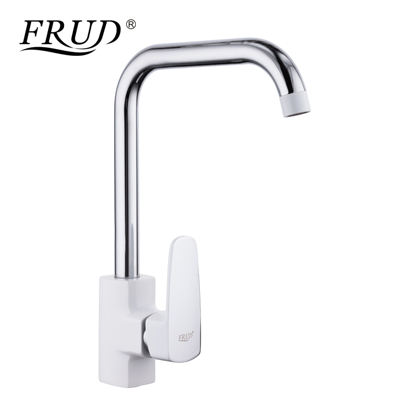 FRUD 1 set New Arrival Zinc Alloy Kitchen sink faucet 360 Degree Swivel Single Handle White