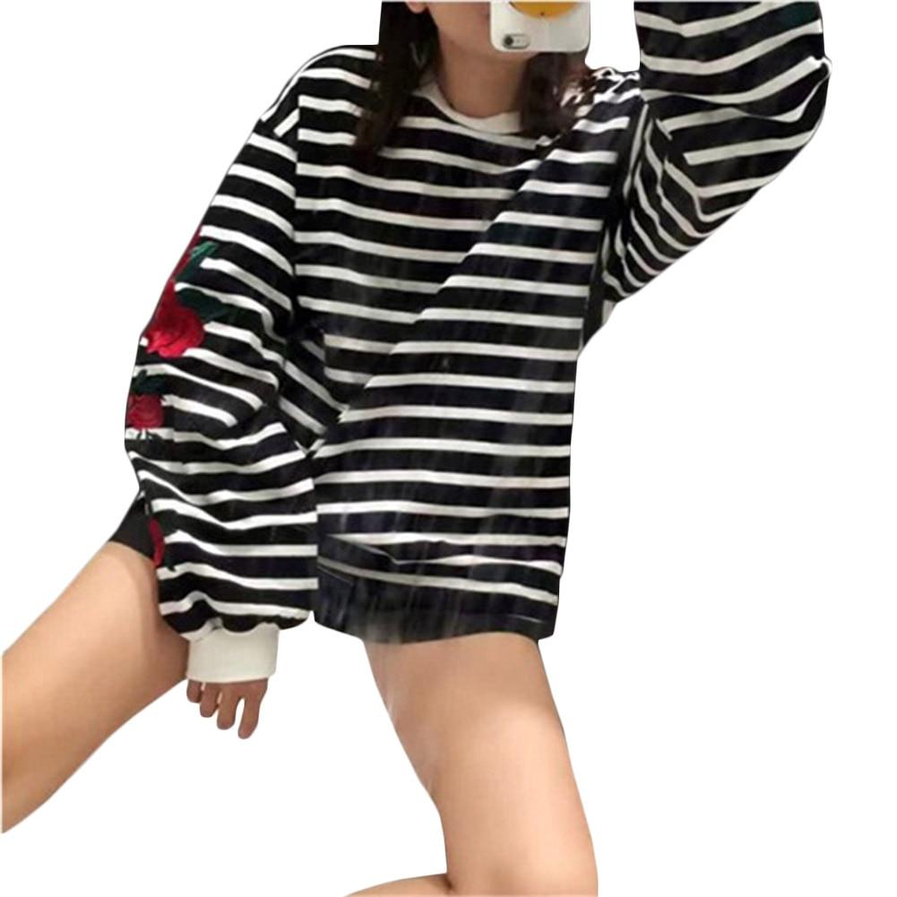 New Autumn Harajuku Hoodies Roses Embroidery Lantern Sleeve Loose Striped Women Sweatshirt Girl Vintage Elegant Casual Tops