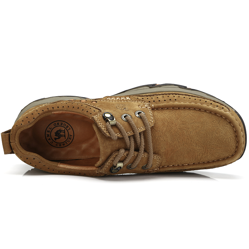 CAMEL Cushioning Men Shoes Matte Genuine Leather Casual Shoes Comfort Wear-resistant Non-slip Scrub Outdoor Leather Shoes Men