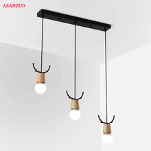 Nordic Wood pendant lamp for restaurant Bedroom living room Bar Pendant Lights creative Iron hanging lamp lican nordic restaurant pendant lights dining room bedroom lamp creative personality bar table lights pendant lamp home decors
