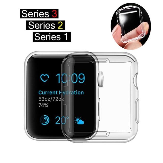 ASHEI Caixa do Relógio Relógio acessórios para Apple Série 3 2 1 Protetor de Tela TPU Macio Fino Tudo-em torno da Tampa Ultra-fino para iWatch