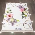 Серые  розовые цветы  зеленые листья  цветочный рисунок  3d принт  микрофибра  противоскользящий  моющийся  декоративный ковер