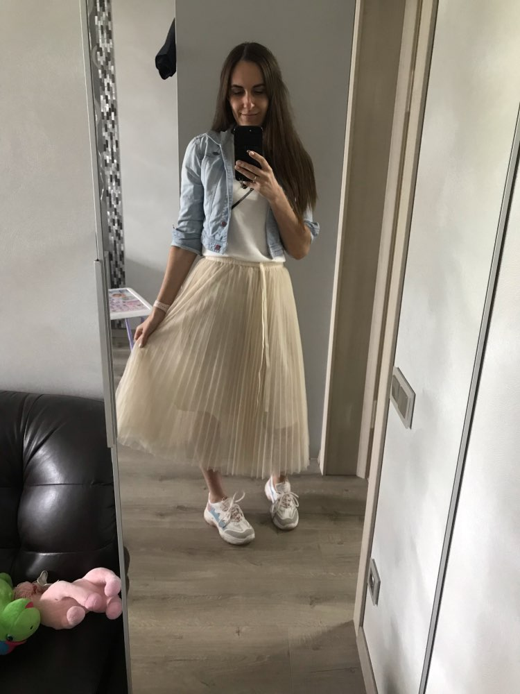Spring Summer Women Skirts Chic High Waist A Line Long Three Lyers Tulle Skirt Mid Calf Pleated Midi Skirt Female photo review
