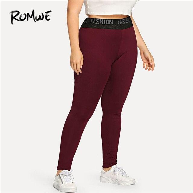 Romwe Спорт Плюс Размеры бордового цвета с буквенным принтом Для женщин трико для фитнеса и йоги для спортивного зала, для пробежки, Спортивна...