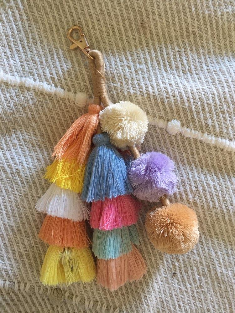 Fashion Bag Accessories Cute Girl Handbag Pendant Fluffy Women Bags Accessories pom pom tassels Bohemian Tassel  beach straw bag photo review