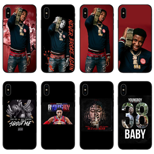 new arrival 8e391 7a504 US $0.92 39% OFF|NBA Youngboy Never Broke Again Merch phone case for iPhone  X XR XS Max 6 7 8 Plus 5 5S 5SE 6S 6 7 8 X-in Half-wrapped Case from ...