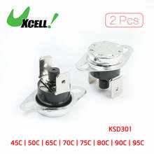 цена на 2 Pcs 185 Celsius NC Bent Foot KSD301 Ceramic Thermostat Switch 10A AC 250 Volt