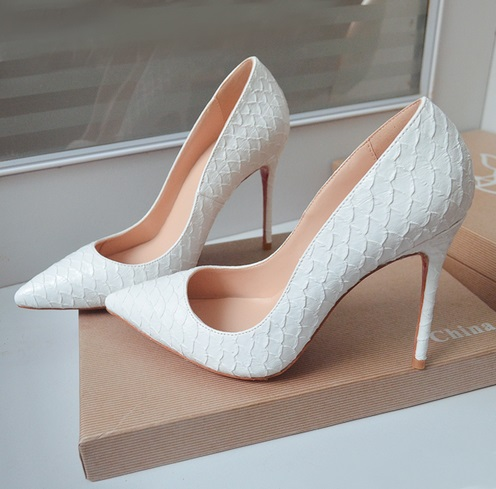Sexy Snake Pointed Toe High Heel Pumps White Shallow Women Office Dress Shoes Spring Autumn Thin Heels Shoes Free Shipping big size 40 41 42 women pumps 11 cm thin heels fashion beautiful pointy toe spell color sexy shoes discount sale free shipping