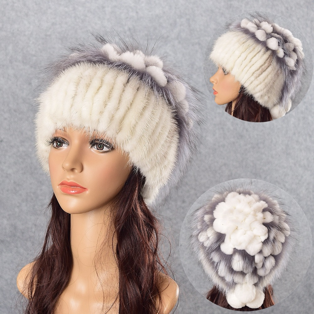 mink fur hat knitted hat for winter women beanie fur skullies beanies 100% Natural Genuine fur caps thick warm free shipping