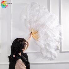 Ostrich and Marabou Feather Fan Burlesque Showgirl & Boudoir Decorative Feather Fan Dance Party Wedding Props