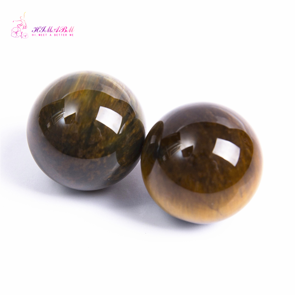 HIMABM 25mm 35mm Tiger Eye Crystal Natural Gemstone Round Ball Crystal Energy Healing Rock Stone Decor Eye Massage Face Massege