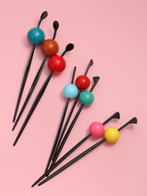 New Woman Candy Color Hair Sticks Sweet Simple Ball Stick Flower Head Style Decorated Girls Accessories