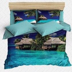 Else 6 sztuka tropikalna wyspa morze domy zielone drzewa 3D drukuj bawełna satyna podwójna poszewka na kołdrę zestaw poszewka na poduszkę prześcieradło w Kołdra od Dom i ogród na