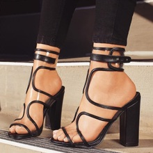 Women Chunky Heels Clear PVC Buckle Strap Sandals Newest Black Gold Thick Heels Criss Cross Dress Pumps Dropship Shoes criss cross block heeled pumps