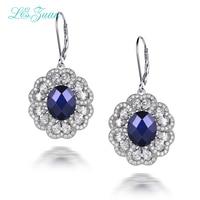 I Zuan 100 Real 925 Sterling Silver Drop Earrings 6 84ct Blue Stone Cluster Gemstone Flower