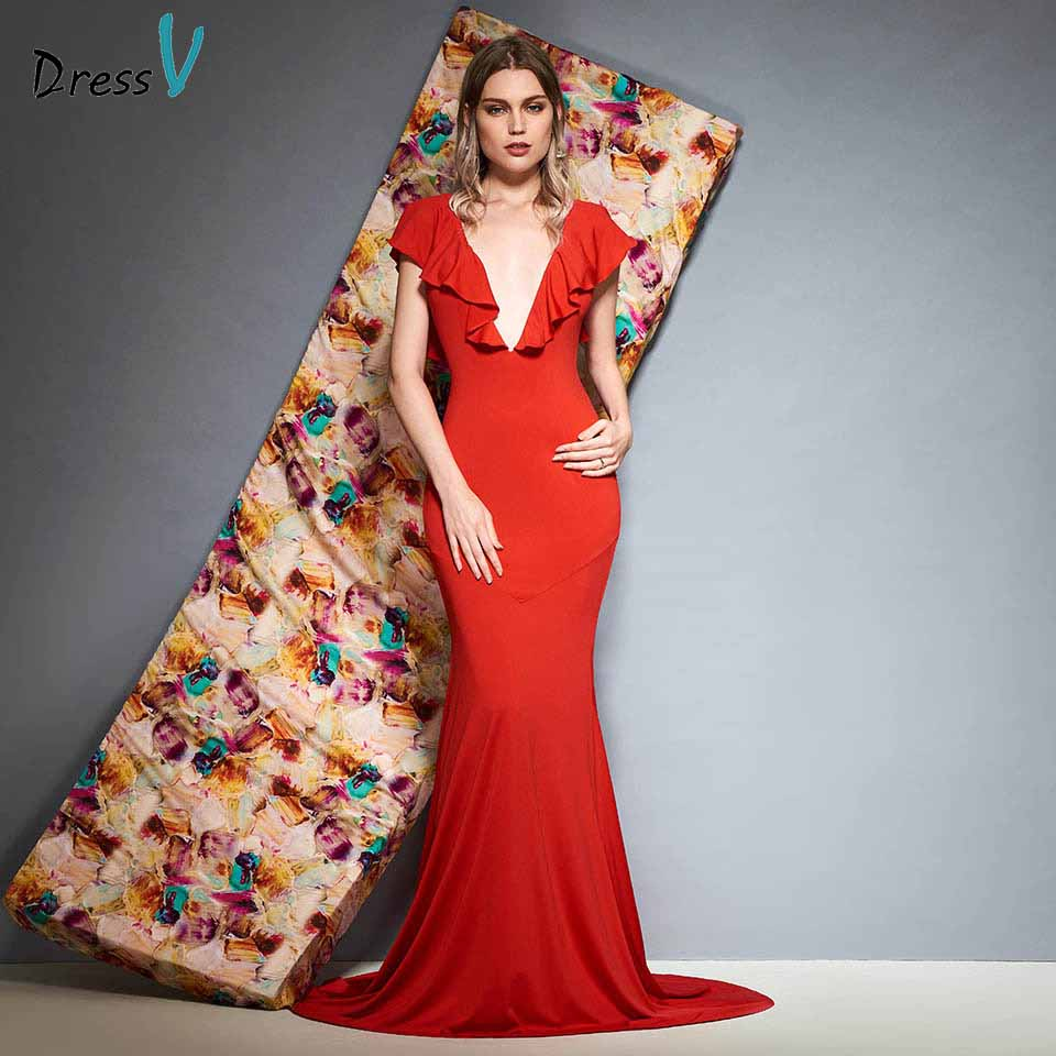 Dressv red beading evening dress v neck floor length mermaid sleeveless zipper up wedding party formal dress evening dresses