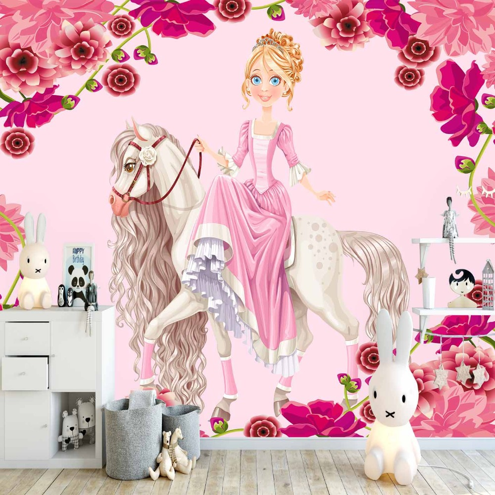 Else Pink Roses Flowers White Horses On Princess 3d Print Cartoon Cleanable Fabric Mural Kids Children Room Background Wallpaper