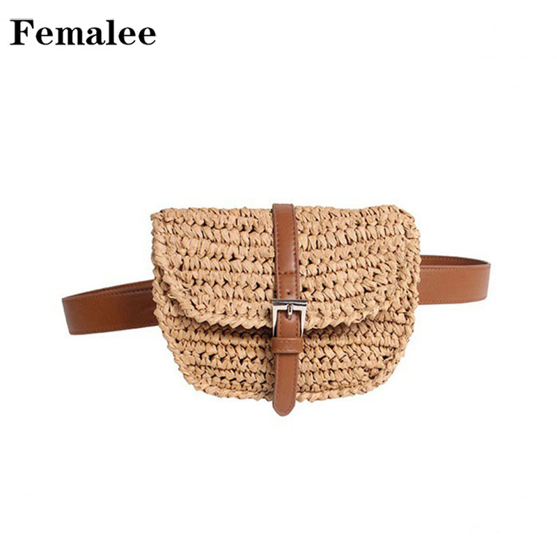 FEMALEE 2018 New Fashion Woven Beach Straw Bag Summer Women Concise Waist Packs Handmade Vacation Leather Belt Messenger Bags