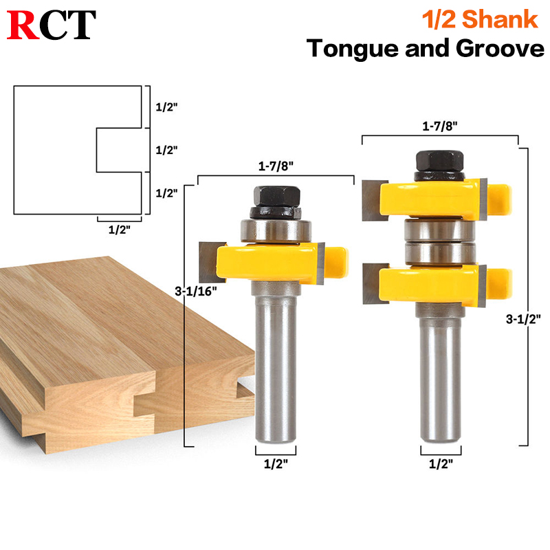 1-1/2 2 Bit Tongue and Groove Router Bit Set - Joint Assembly Router Bit Set 1-1/2 Stock Wood Cutting Tool-RCT15210 2pcs tongue