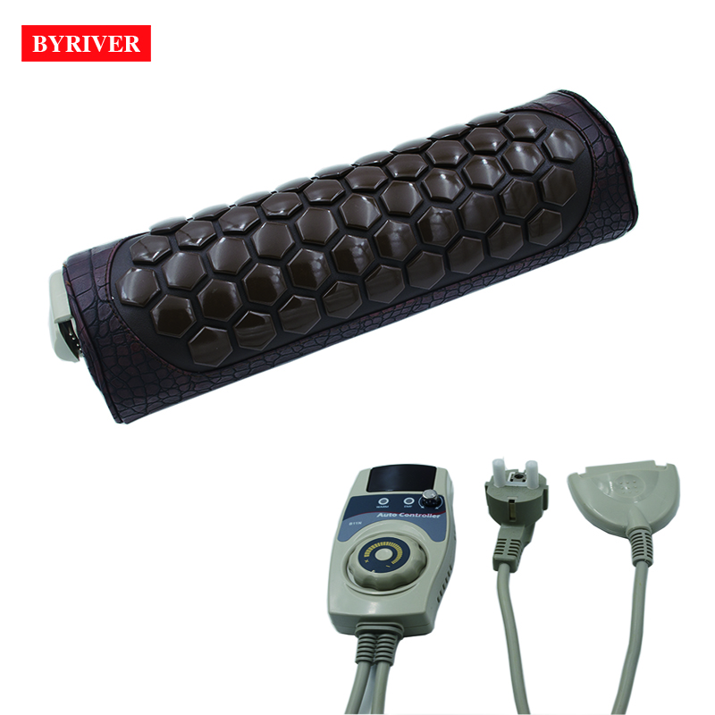 BYRIVER Real Tourmaline Stone Heating Therapy Massage Pillow, Cervical Health Pillow Relief Neck Back Pain Massager high end health care neck cervical traction ems therapy massage collar infrared heating magnet vibration massager pain relief