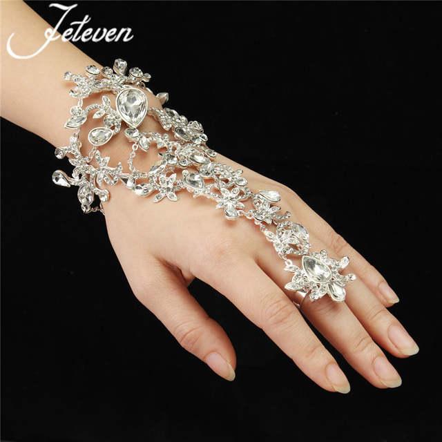 9d39a985b1 placeholder Clear Crystal Bridal Ring Bracelet Luxury Tear Drop Rhinetone Chain  Link Bangle Finger Ring Wraps Slave