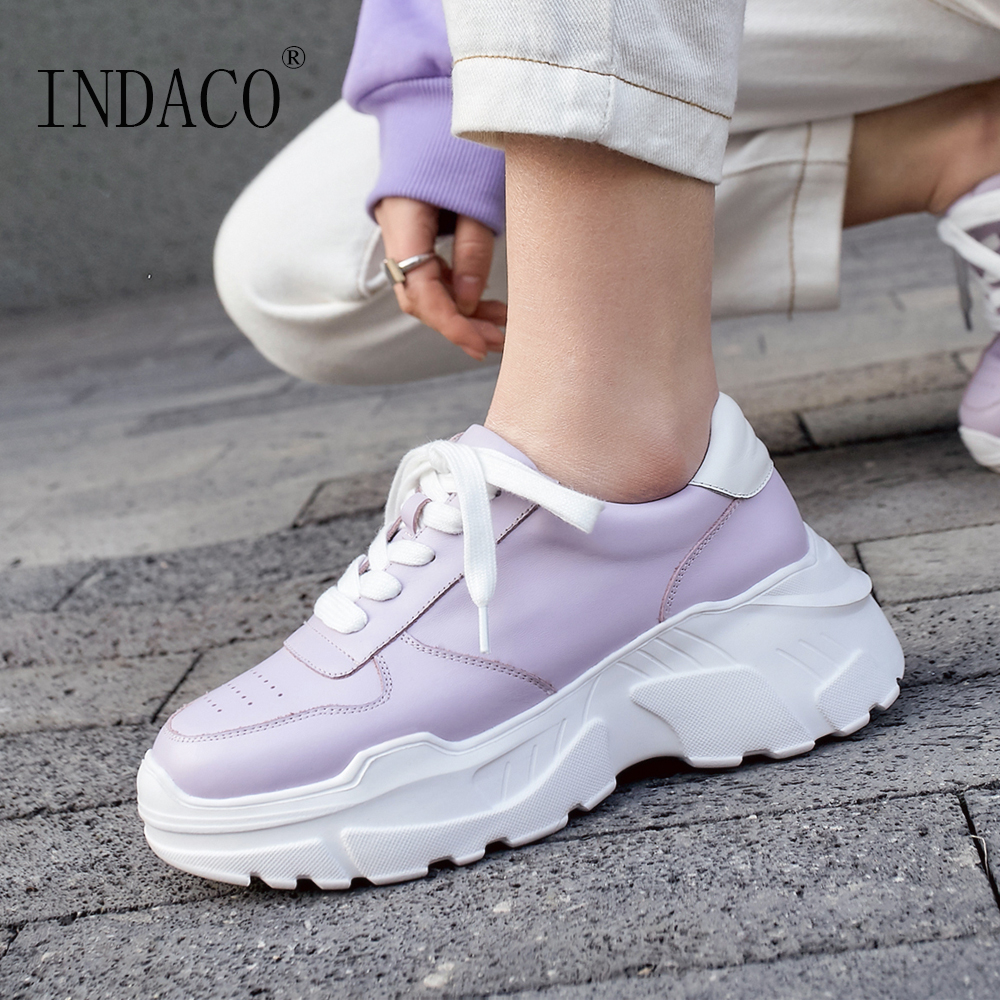 2019 Women Sneakers Shoes Fashion Leather Platform Purple Casual Shoes Women 7.5cm