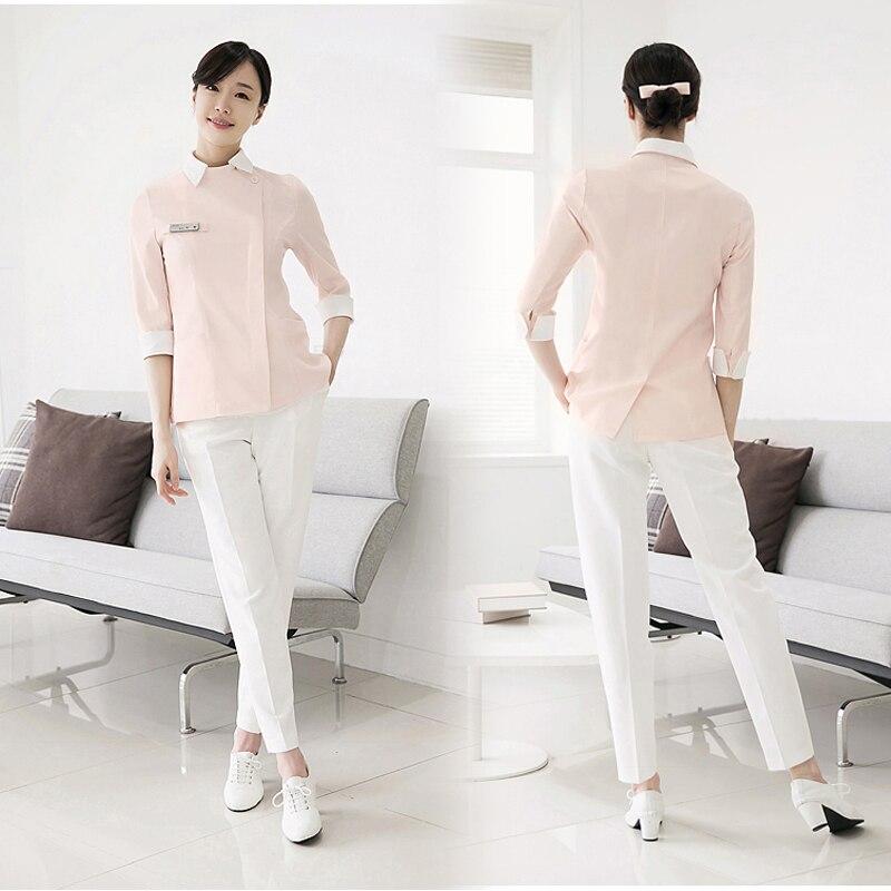 3c092faaddc Detail Feedback Questions about 2018 Spring Summer Korean Cosmetic Surgery  Hospital Nurse Uniform Pink SPA Uniform Set Dental Clinic Work Clothing  Free ...