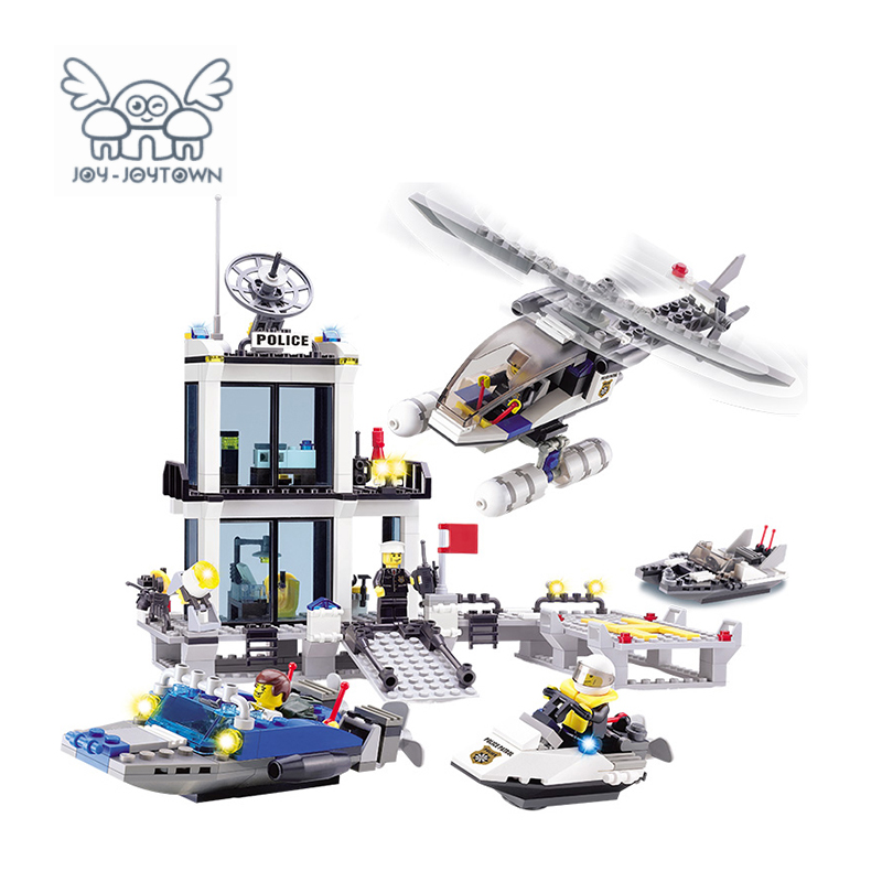 JOY-JOYTOWN Model Building Plastic Toys City Police Station 3D Blocks Sets Compatible With Self-Locking Bricks Educational Toy