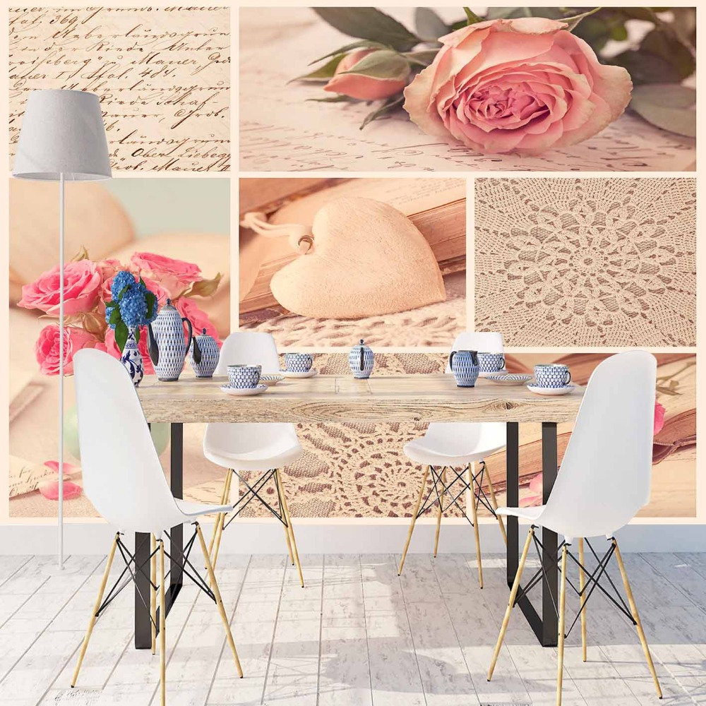 Else Vintage Pink Roses Cream Lace Patchwork Heart 3d Print Photo Cleanable Fabric Mural Home Decor Kitchen Background Wallpaper