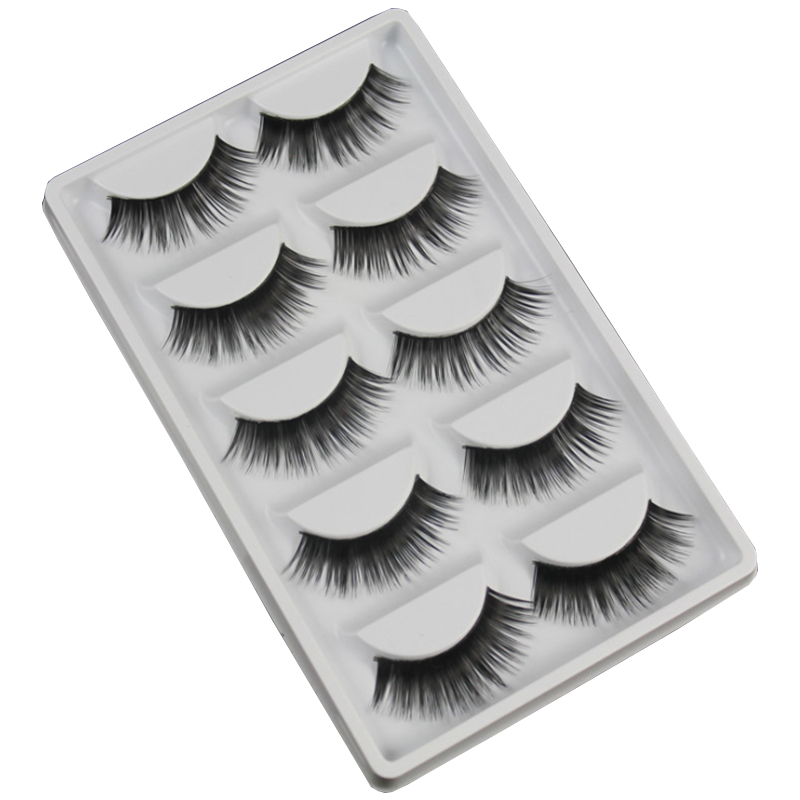 5 Pairs of Makeup Fake Eyelashes Handmade full strip thick false lashes Natural Long Artificial hair ...