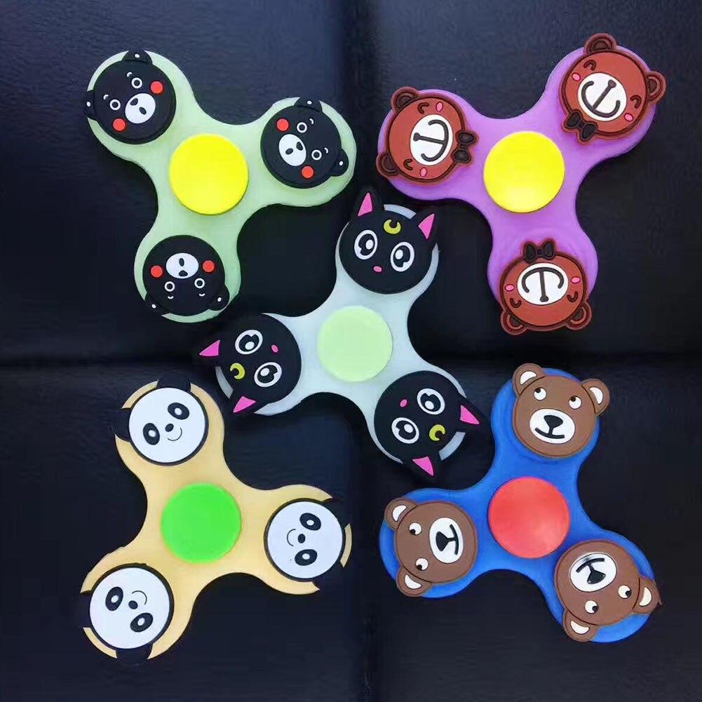 Color Radom Emoji Luminous Hand Spinner Bearing Fidget Toys Fidget Spinner Plastic Emoji Fidget Spinner