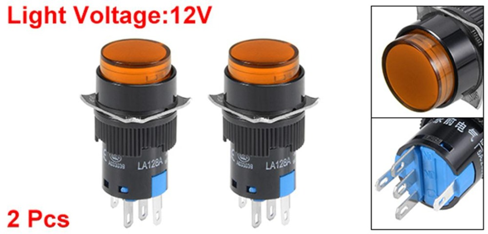 UXCELL 2Pcs 16mm Latching Push Switch Orange LED Light Round Button DPST 1 NO 1 NC Light 12V Electrical Equipment Supplies in Switches from Lights Lighting