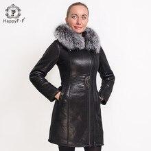 HappyFF Women's Fashion Fur Coat Fox Collar Suede Jacket Long Zipper Design Hooded 05828010101