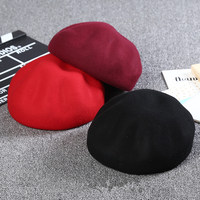 2017 Women Lady Winter Beret Knitted Wool Cotton Hat Solid Colors New Arrival Good Quality Cap