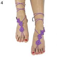 Fashion Women Crochet Flower Barefoot Sandals Anklet Ankle Bracelet Foot Chain
