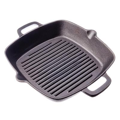 GRILL CAST IRON Skillet Non-stick Frying Pan Grooved Grill Cast Iron Induction Cooker Oven 26x26x4.5sm 808-004