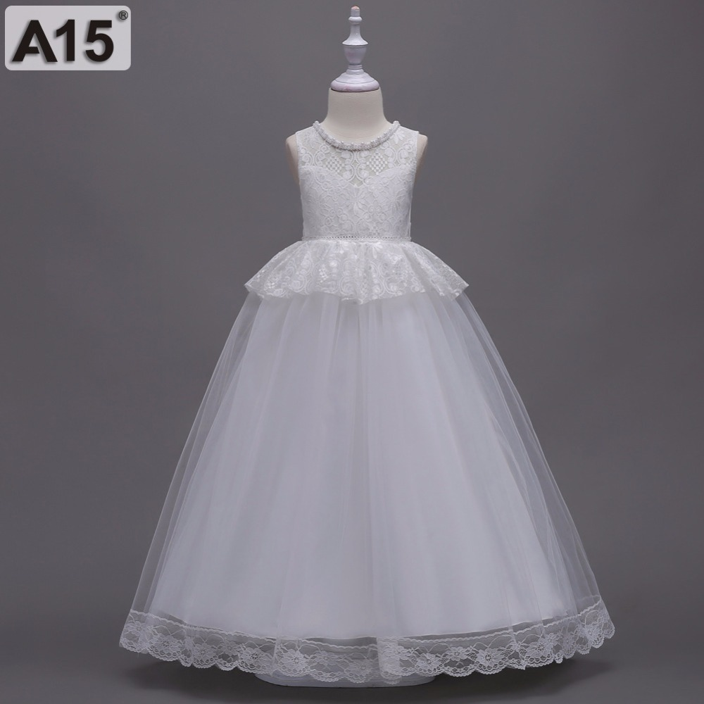 A15 Girls Dress Wedding Party Kids Dresses for Girls 2018 Summer Lace Ball Gown Birthday Evening Prom Clothing 6 8 10 12 14 Year a15 fancy lace girls wedding gown summer teenage girls party costume for kids clothes children clothing girl prom ceremony dress