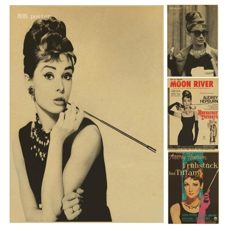 Breakfast At Tiffany\'s Audrey Hepburn poster reteo kraft wallpaper ...
