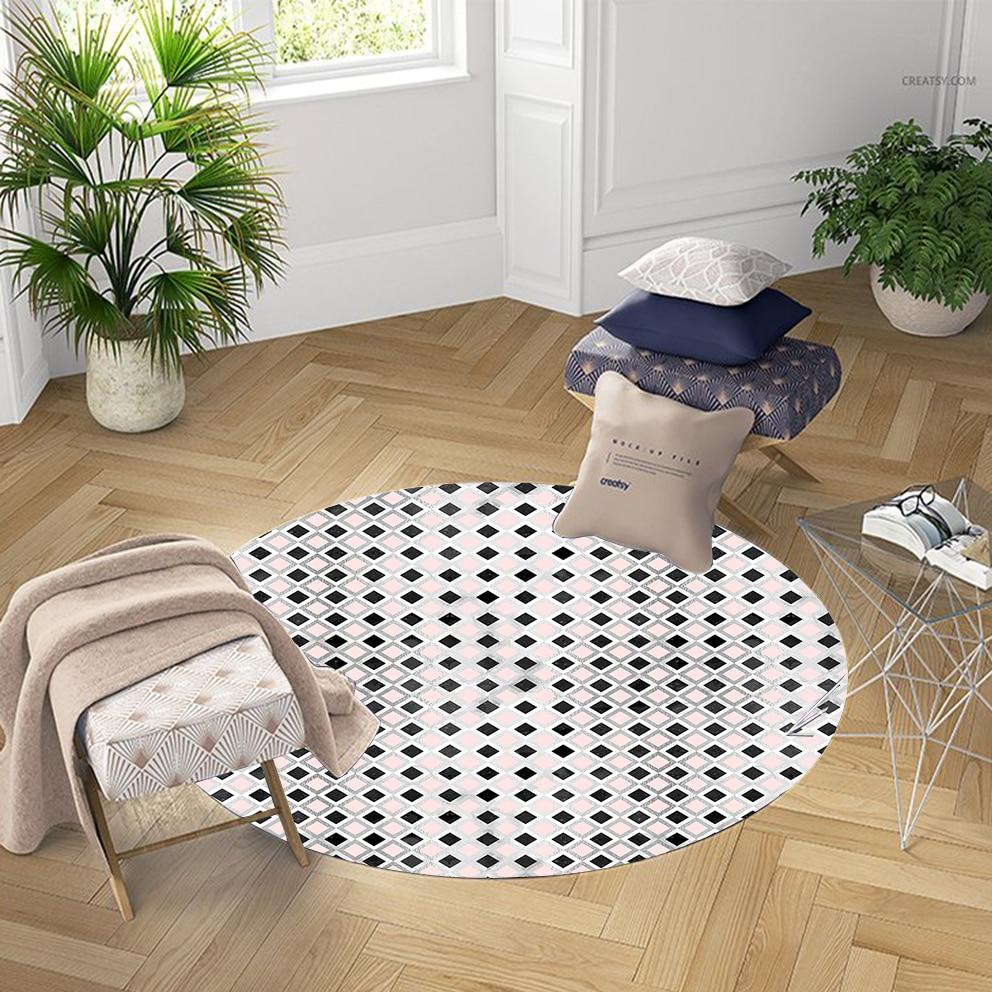 Else Black Gray Tiles Geometrics Modern Nordec 3d Pattern Print Anti Slip Back Round Carpets Area Rug For Living Rooms Bathroom